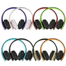 Foldable BT Wireless Headphones Over Ear Headset with Mic/FM