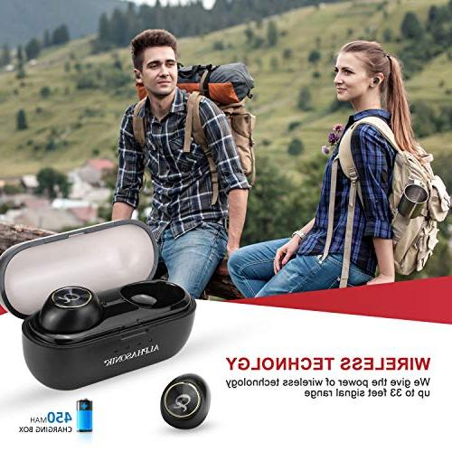 Alphasonik in-Ear Earbud Stereo Sound Mini Headset Mic Extra Charging Case