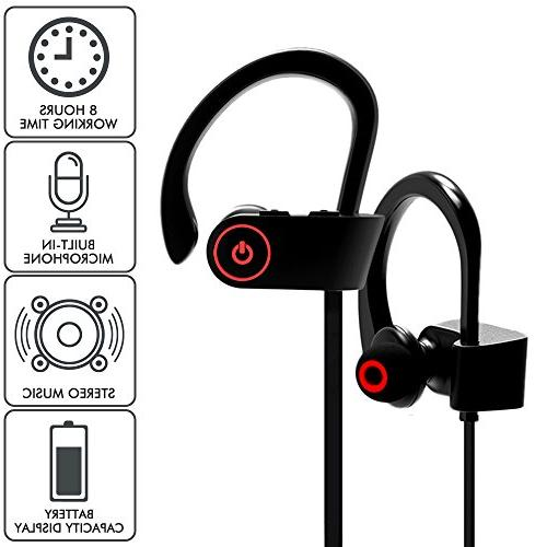 Bluetooth Headphones, Wireless Earbuds Microphone, Earphones, IPX7 Waterproof Headsets, Noise Cancelling HD Running Gym, 8 Hours Working
