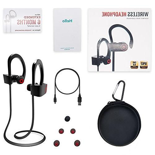 Bluetooth Headphones, Earbuds Microphone, Sports Earphones, IPX7 Waterproof Sweatproof Musical Noise Cancelling Stereo Running Gym, 8 Hours Time