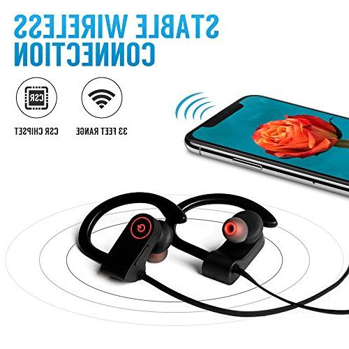 Bluetooth Headphones, Microphone, Sports IPX7 Waterproof Sweatproof Headsets, Noise Cancelling Running Gym, 8