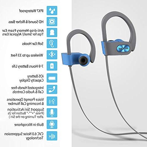 Mpow Waterproof Earbuds Sport, Richer Bass HiFi Stereo Case, 7-9 Playback Noise Headsets