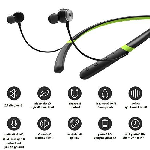 Mpow Active Noise Bluetooth Headphones, Neckband Headset, IPX6 Sports Headphones, Magnetic Earbuds
