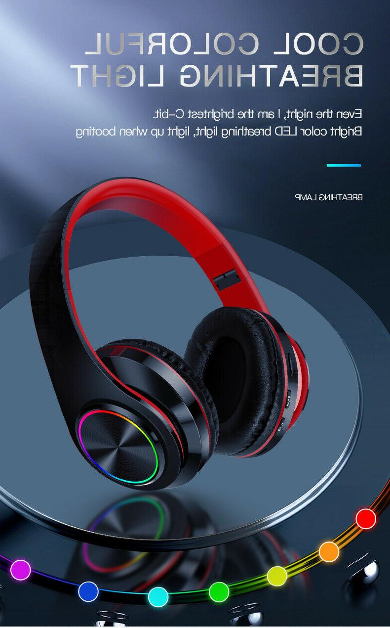 LED Gaming Wireless Earphone Over Headphones With Micropho