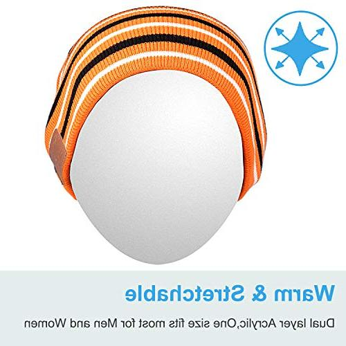 Bluetooth Skully Cap Wireless Headphone Earphone Music Audio Hands-free Phone Call for Winter Sports Workout Black/Orange