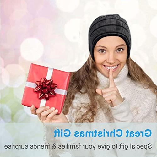 Rotibox Winter Knit Cap with Stereo Headphone Speaker Mic Hands Compatible with Android Phones - Gray