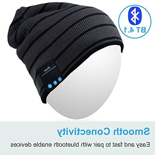 Rotibox Beanie Winter Outdoor Sport Knit Cap with Wireless Stereo Headphone Earphone Speaker Hands Free Compatible with Android Phones Gray