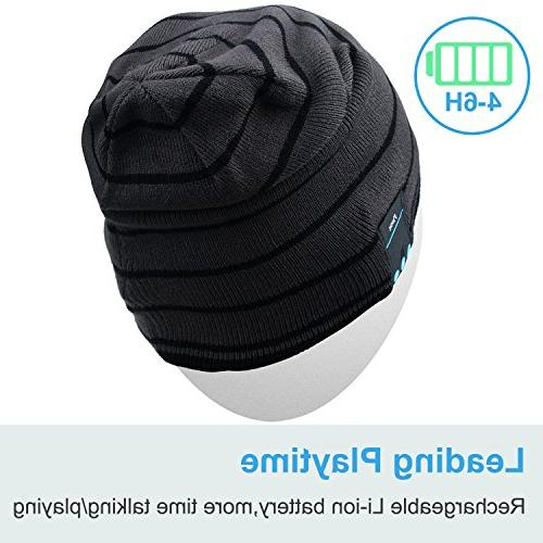 Rotibox Bluetooth Beanie Winter Outdoor Knit Cap with Wireless Stereo Headphone Speaker Mic Hands Free Compatible with Android Cell Phones - Gray