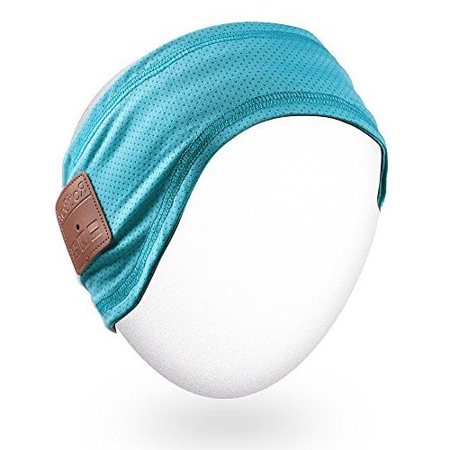 Mydeal Sweatband Headsets Speakers Mic Hands-Free for Skiing Teal