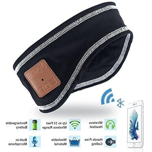 Mydeal Outdoor Headband with Headset Earphone Stereo Speakers Microphone Gym Iphone Cell Phones - Black