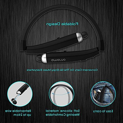 Bluetooth Headphones, Wireless Retractable Earbuds, Sports Noise with