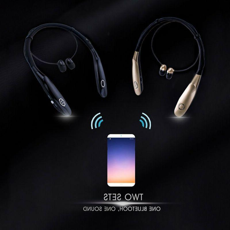 Bluetooth Headphones Retractable Neck Design Stereo