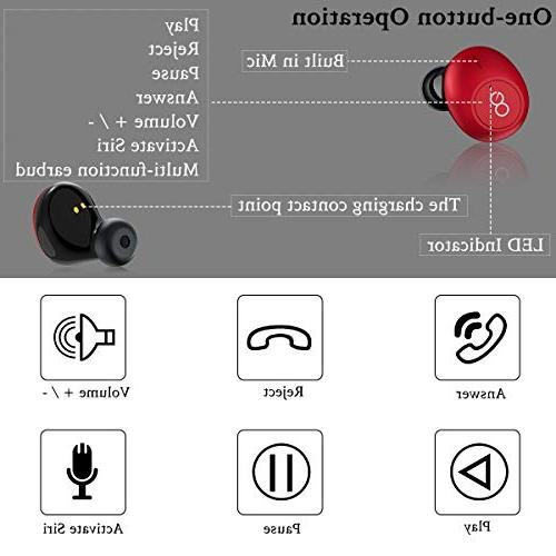 Bluetooth Headphones, True Wireless Earbuds Bass Mini Earphones HD Headset and for Samsung and Most Andorid Phones