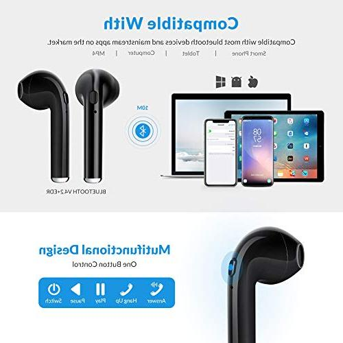 Bluetooth Headphones Wireless Earbuds Stereo Noise Canceling with Wireless Mic Hands-Free Mini Headsets Charging for Most Black