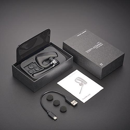 Bluetooth Headset V4.2, Hands-free Cell Phones, HD Microphones for Business/Driving/Office, Compatible