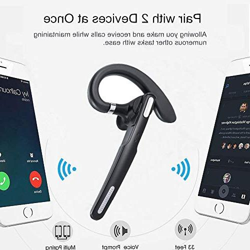 Bluetooth Wireless Earpiece V4.1 8-10 Hours Talktime Noise Mic, Compatible iPhone Android Cell Phones