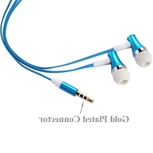 Compatible with Jitterbug - Sound Blue Earbuds w Mic Metal Headset In-Ear Wired GreatCall Smart2