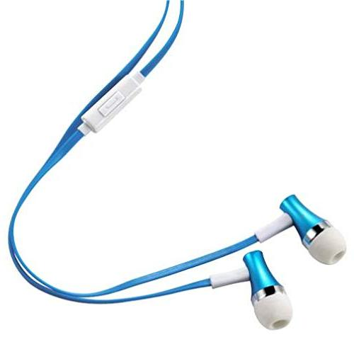 - Premium Sound Blue Earbuds Hands-free Mic Dual Headphones Headset Wired for GreatCall Jitterbug