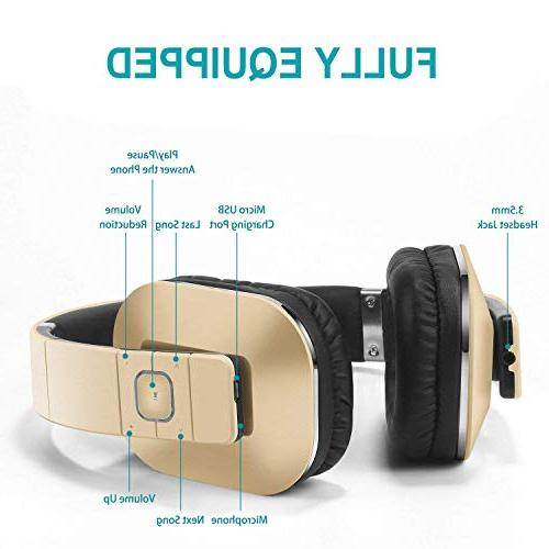 August EP650 3.5mm Headphones with Battery, Microphone iPhone, Laptops, Smartphones