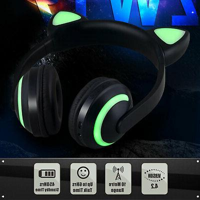 For Cat Ear Bluetooth Wireless LED Stereo US