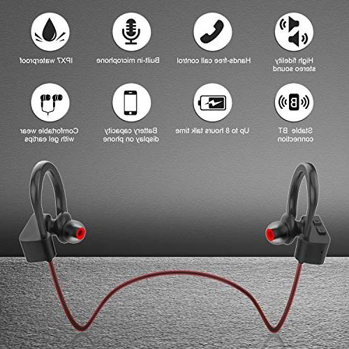 LETSCOM Bluetooth Waterproof, Bluetooth Bass Stereo Noise Cancelling Workout, Gym, Hours