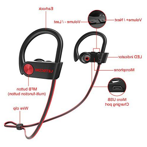 LETSCOM Waterproof, Bluetooth 4.1, Stereo w/Mic, Noise Cancelling Headset Workout, Hours