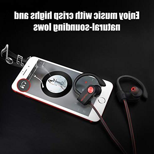 LETSCOM Waterproof, Earphones Stereo Sweatproof Earbuds Noise Cancelling Headset for Workout, Running, Hours Time
