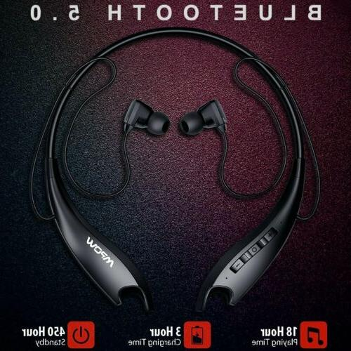 Mpow Wireless Bluetooth Headset Retractable Noise Cancelling
