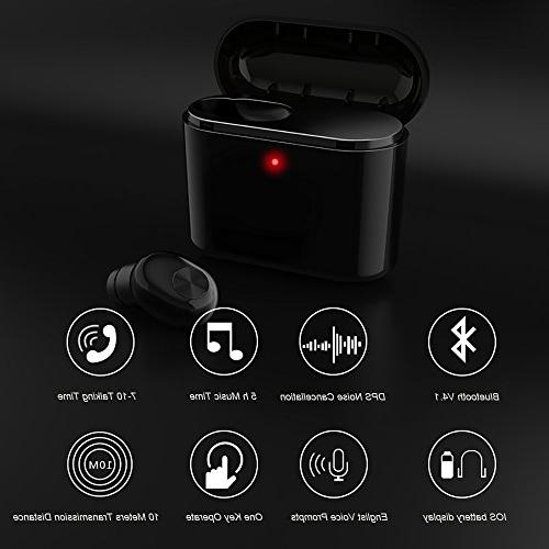 Mini Earbud Single Wireless V4.1 Earpiece Calls With Charging Case Earphone for iPhone iPad Samsung