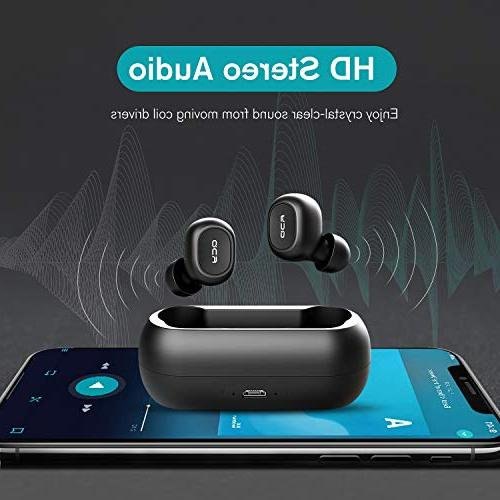 QCY True Wireless 5.0 Headphones, Wireless Earphones Cancelling, Mic iPhone Android