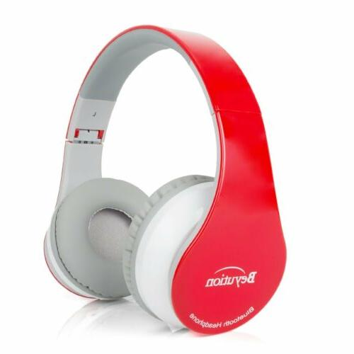 wireless built in mic bluetooth headphone red
