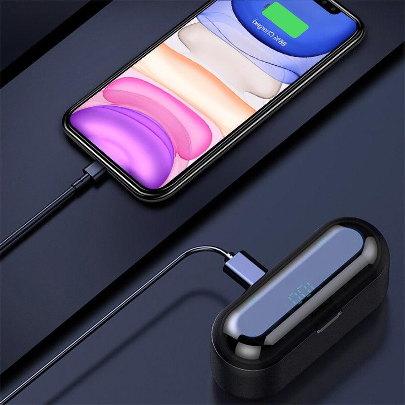 Wireless Earphone V5.0 F9 TWS Display With Bank Headset With Microphone <font><b>Bluetooth</b></font> <font><b>Headphone</b></font>