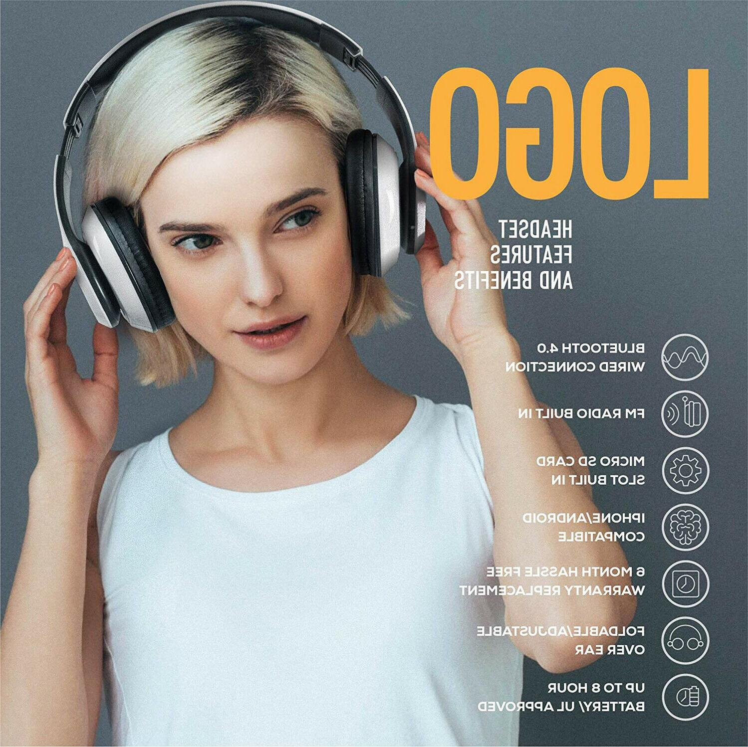 Wireless Ear Headphones Foldable Headset with