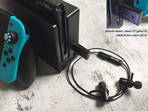 Reiyin Bluetooth Transmitter, Audio Adapter with aptX Latency Technology, Used PC Game Consoles