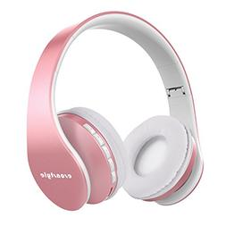 Esonstyle Rose Golden Over-Ear Bluetooth Headphones,Foldable