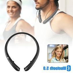 Sweatproof Neckband Headset Wireless Bluetooth Retractable H