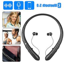 Sweatproof Neckband Headset Wireless Bluetooth5.0 Retractabl