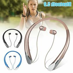 Wireless Bluetooth Headset Neckband Retractable Stereo Headp