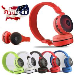 Wireless Bluetooth Kids Over-Ear LED Headphones Noise Cancel