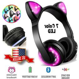 Wireless BT LED Cat Ear Headphones 7-Color Changing Glowing