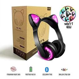 Wireless Bluetooth LED Cat Ear Headphones for Girls, 7-Color