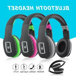 Wireless Bluetooth headphones Mic Stereo sound Foldable Over